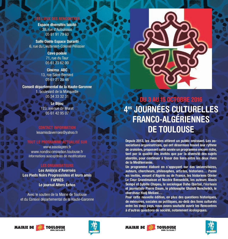 Ceci est la page 1 du programme complet des Journées Culturelles Franco-Algériennes de Toulouse du 3 au 15 octobre 2016. pr