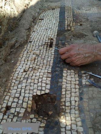 Restauration mosaïques in situ, Portugal, Juillet 2020.
