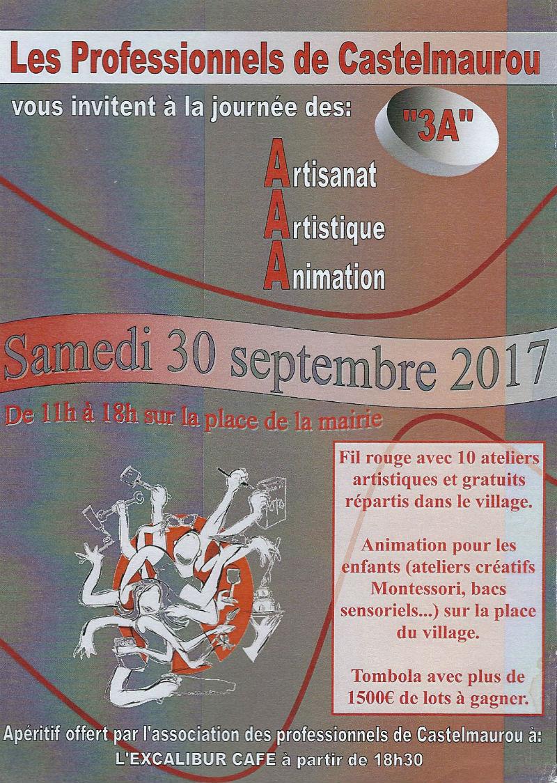 Ceci est le flyer (recto) de la Journée des 3A à Castelmaurou, le 30 septembre 2017.