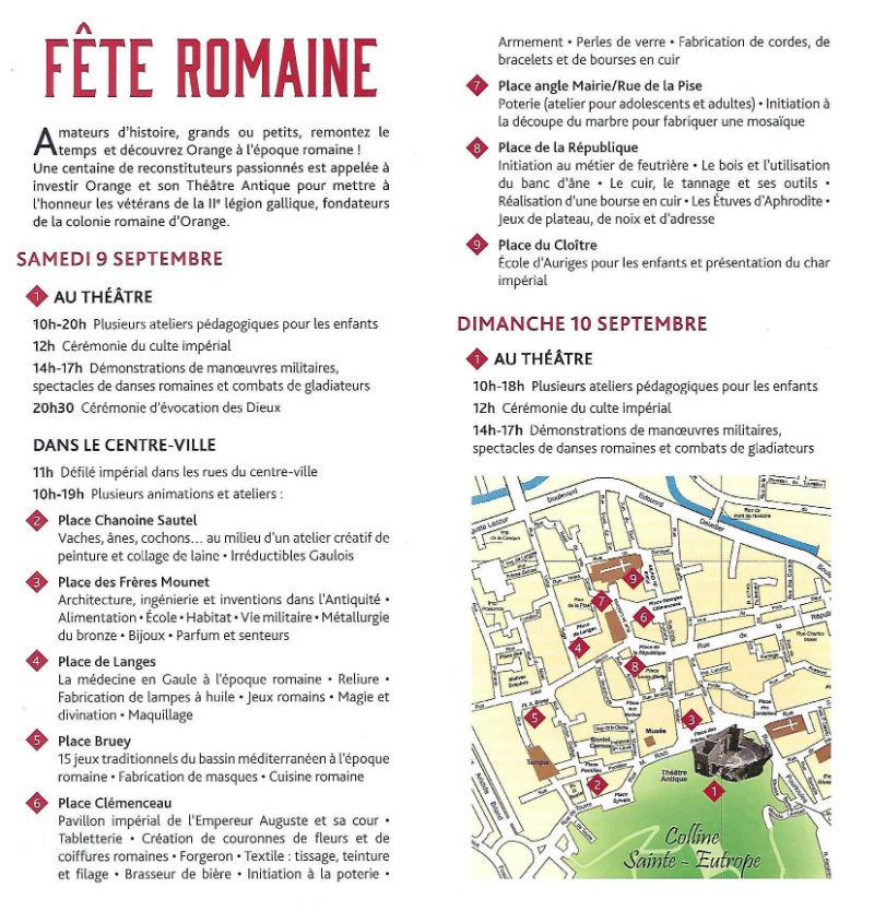 Ceci est le programme des Journées Romaines d