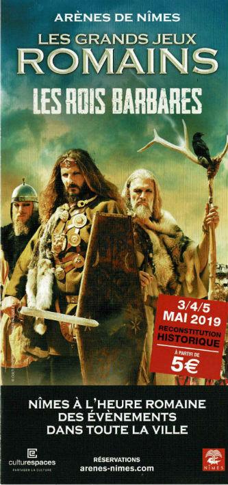 Ceci est le flyer des Grands Jeux Romains de Nîmes, du 3 au 5 mai 2019.