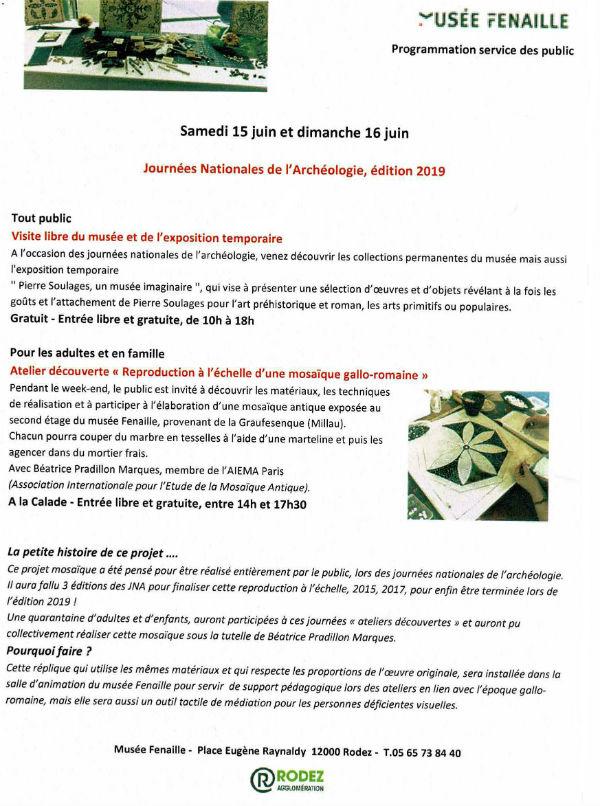 Flyer explicatif du projet lors des JNA au musée Fenaille à Rodez, édition 2019.
