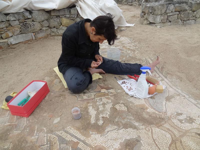 Ceci est une photo de Béatrice Pradillon-Marques en train de restaurer un pavement en mosaïque à la villa romaine de Rabaçal en juillet 2013.