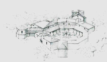 Ceci est un dessin hypothétique de la villa romaine de Rabaçal (Portugal, région centre.)