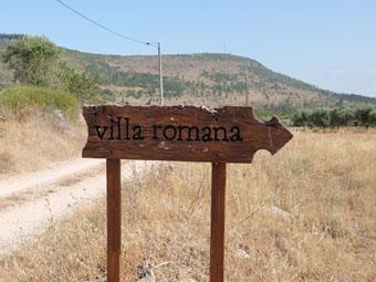 Ceci est une photo du panneau indiquant la villa romaine de Rabaçal.