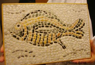 Ceci est une photo de la mosaique de Chantal, en galets, représentant un poisson.