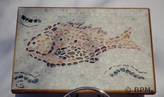 Ceci est une photo de la mosaique de Sophie, en galets représentant un poisson.