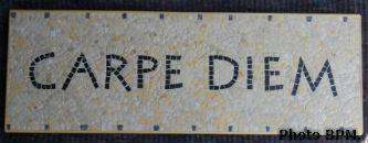 Mosaique de Bernadette, réalisée en tout marbres, mentionnant Carpe Diem.