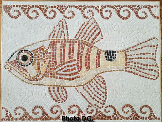 Mosaique de Dominique G, tout en marbre représentant un poisson d